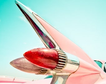 Pink Cadillac - Vintage - Classic Car - Fine Art Photograph - Pink Fin