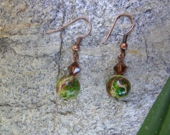 Green and brown crystal and stone earrings