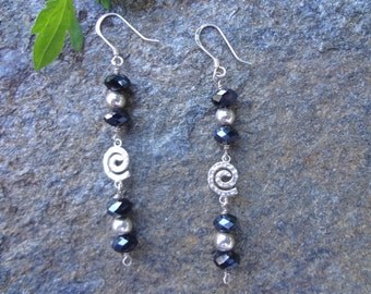 Sterling silver and black chinese crystal earrings