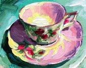 Special Order for Joyafreak, Rose Tea Cup Painting,Tea Cup Art Print, Tea Cup Art, 5 x 5 from Jemma's-Gems