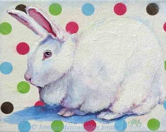 Easter Rabbit Painting, Rabbit Print, White Bunny Art, Childrens Art, Rabbit Art Print 8 x 10 by Jemmas Gems