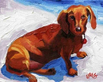Brown Dachshund Painting, Doxie Painting, Weiner Dog Art, Hot Dog Print, Giclee Art Print 8 x 10 Dog Art