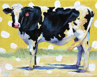 Cow Print, Cow Painting, Happy Cow Painting, Holstein Dairy Cow Art, Yellow Summer Fun, Archival Art Print 5 x 7 Jemmas Gems