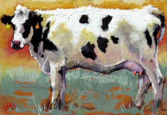 Cow art cow painting cow print from original oil by jemmasgems for Cow painting print