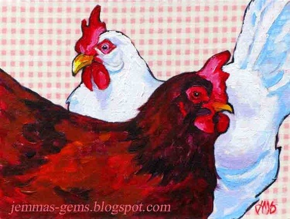 Chicken Painting, Now Chicken Art Print, Red & White Hens, Chicken Art, 8 x 10 by Jemmas-Gems