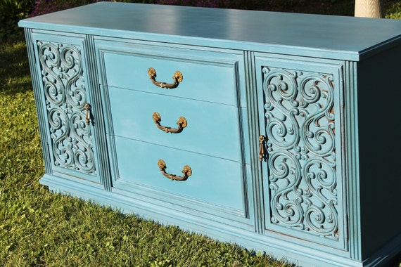 RESERVED for Jane - Buffet Sideboard Flat Screen TV Cabinet Hallway Credenza Aubusson Blue