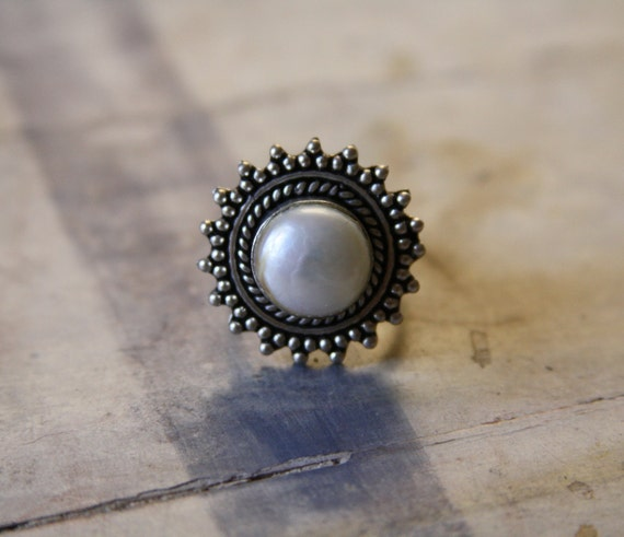 Vintage Florentine Pearl Ring