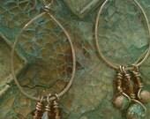 Handwrapped Copper Unakite and Jasper Earrings
