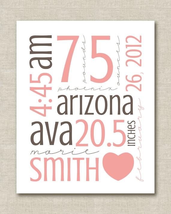 "Custom Personalized Nursery Baby Child Name Birth Stats Art Print 8.5""x11"""
