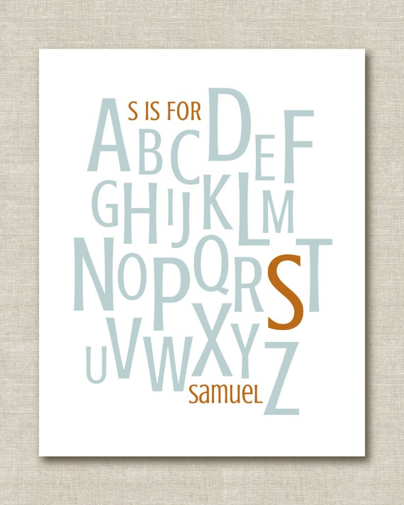 "Custom Personalized Nursery Baby Child Name Alphabet Decor Art Print 8.5""x11"""