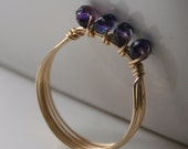 14K Gold Filled Ring Navy Fire Polished Czech Glass Rondelles Wire Wrapped - MADE TO ORDER