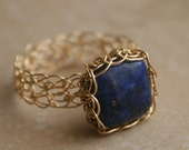 Gold Lapis Lazuli Ring - Wire Crochet 14K Gold Fill - Blue - Any Size - MADE TO ORDER