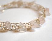 Rose Quartz Bracelet 14K Gold Filled Wire Crochet Cuff - Made to Order