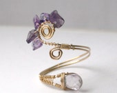 Amethyst Ring - Wire Wrapped 14K Gold Filled - Any Size Adjustable - February Birthday