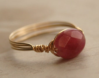 Pink Jade Wire Wrapped Ring in 14K Gold Fill - MADE TO ORDER