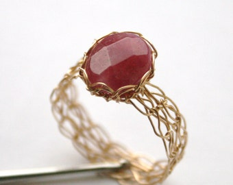 Ruby Red Jade Ring - Wire Crocheted 14K Gold Fill - Any Size - MADE TO ORDER