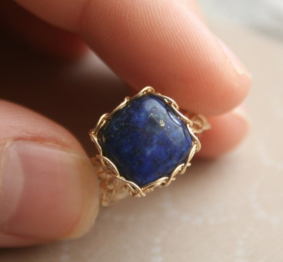 Gold Lapis Lazuli Ring // Cashmere collection // Wire Crochet 14K Gold Fill - Blue - Any Size - MADE TO ORDER
