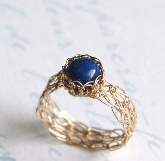 Gold Lapis Lazuli Ring - Wire Crochet 14K Gold Filled - Any Size - MADE TO ORDER