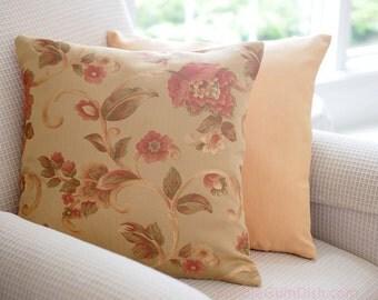 Thanksgiving Decor Floral Pillow Cover golden honey gold tones 18 x 18 Fall Decor