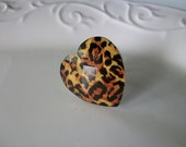 Black and Gold Leopard Large Heart Ring - adjustable silver band