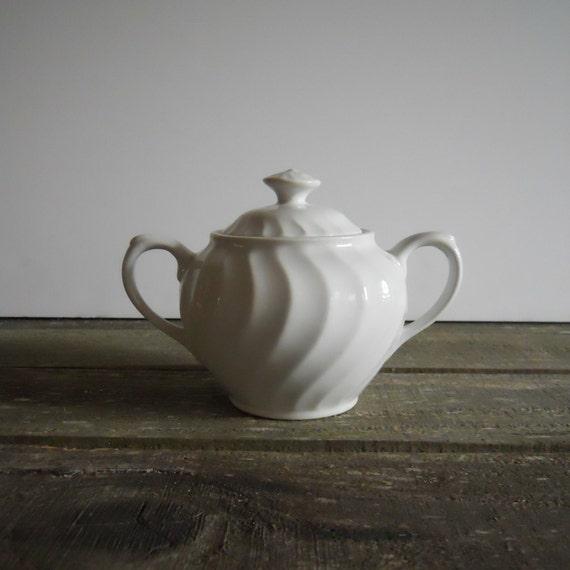 Sugar Bowl Vase, English Ironstone- Free Shipping