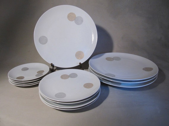 RESERVED for Michael...Raymond Loewy, Coins Pattern, Rosenthal Continental China, 12 plates, 3 sizes, 1950s