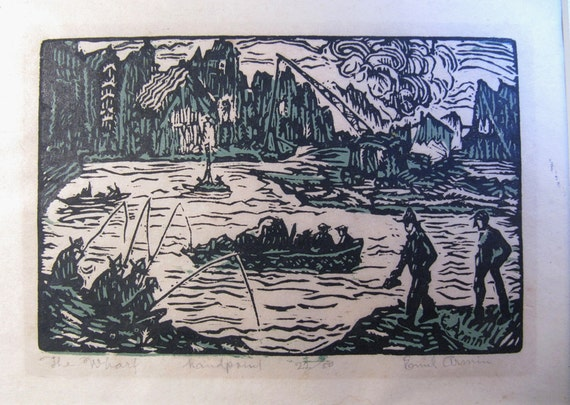 "Social Realism woodblock print, WPA, Regionalism, 1920s, Emil Armin, ""The Wharf"", Black and green,"