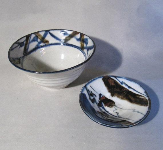 Vintage Scandinavian Studio Pottery, 2 handthrown porcelain bowls, Signed