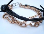 Leather Bracelet Barbed Wire with Gold Chains - 7-inch, 3-strand, Black Barbed Wire Leather, Gold Aluminum Chain