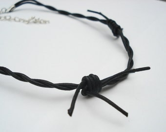 18-inch Leather Necklace Choker - Barbed Wire, Unisex, Gothic, Leather Necklace