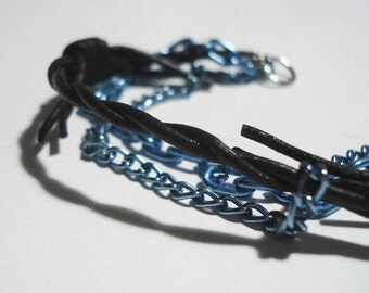 Barbed Wire Bracelet with Chains - 8.5-inch, 3-strand, Black Barbed Wire Leather, Blue Aluminum Chain