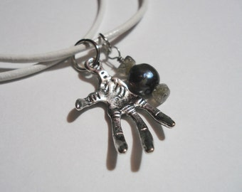 Hand Charm Necklace - Alien Hand and Pearl w/ Labradorite Charms, White Leather Necklace
