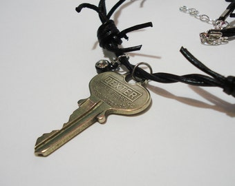 Key Necklace, Recycled, 18-inch with Rhinestone and Barbed Wire Leather Chord
