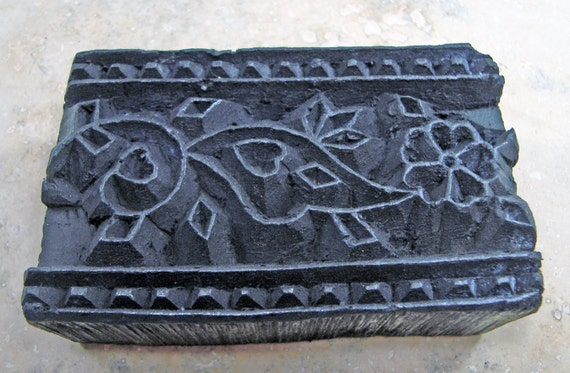 Carved Wood Print Block Textile or Pottery Stamp