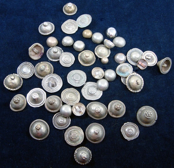 Vintage Turkoman MIXED Metal Buttons Bag of 50