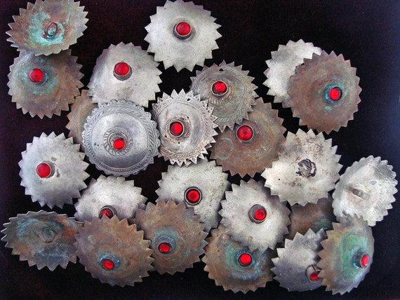 RESERVED Turkmen Large Metal Buttons SERRATED Edges Bag of 24
