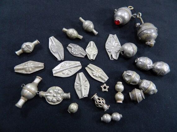Vintage Afghan Turkoman Old Metal Tribal Beads Uber Kuchi