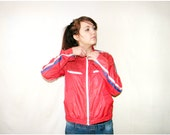 Red Retro Biker Jacket - Zip Up Jogging Jacket with Red Blue White Stripes White Zipper Hot Ride Style