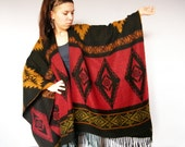 Southwestern Vintage Blanket Poncho Shawl with Geometric Ethnic NativeTribal Aztec Woven Pattern Fringe Bat Wing Cape Coat