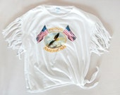 American Eagle Vintage Fringe Crop Top -Young Patriot Flag Print Tee White Tshirt Crop Top Shirt