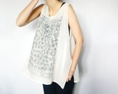 RESERVED for A - Hand Printed Sheer Tank Top Occult Shirt Cross Print Zen Geometric Abstraction Ivory Chiffon Tunic Gray Print Pastel Colors