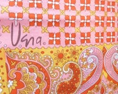 "1970's Vera Scarf in Yellow, Orange and Pink Paisley -70"" Long -  Great for Spring"