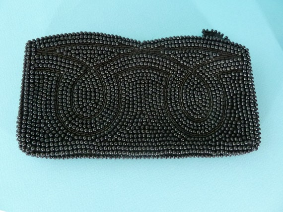 Black Beaded 60's Clutch Purse made in Hong Kong