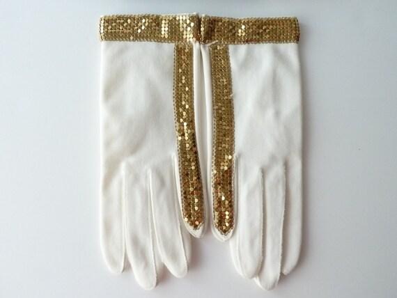 SALE - Unusual White Cotton Gloves with Gold Metal Mesh Design - Pre Michael Jackson  - Unused
