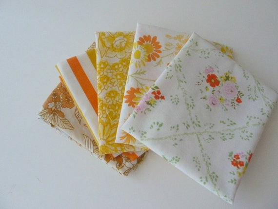 Vintage Sheet Fat Quarters - Bundle of  5 - Yellows and Oranges  - Floral and Stripes