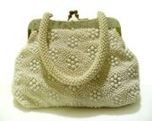Vintage Hobnail Beaded Handbag With Faux MOP Lucite Trim Made In Hong Kong By John Wind
