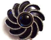 Vintage Navy Enameled Moonwind Brooch By Avon