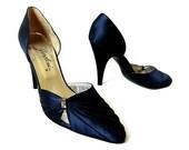 70s Italy Garolini Navy Satin High Heel Shoes Size 8 1/2