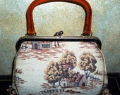 JR of Miami Tapestry Purse With Amber Lucite Handle
