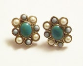 Vintage Monet Earrings With Glass Turquoise And Pearl Cabochons